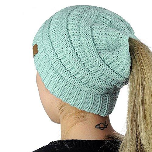Forever-Beauty Damen Warm Gestrickte Mütze Frau Wolle Hut mit Zöpfen Loch Loop Winter Strickmütze für Outdoor Aktivitäten und Täglich Nutzen