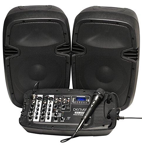 Denver DJ-200 DJ-Set Mixer (2 Lautsprecher, 2x100W, Bluetooth, USB/SD, 4x XLR-In, Mikrophon) - Hut Display-box
