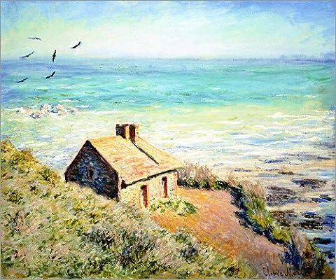 Leinwandbild 120 x 100 cm: Zöllnerhaus des Fischers b. Varengeville von Claude Monet - fertiges Wandbild, Bild auf Keilrahmen, Fertigbild auf echter Leinwand, Leinwanddruck