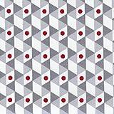 Tela GEOMETRICA (gris, gris plata, rojo e blanco) - 100% algodón suave | ancho: 155 cm (1 metro)