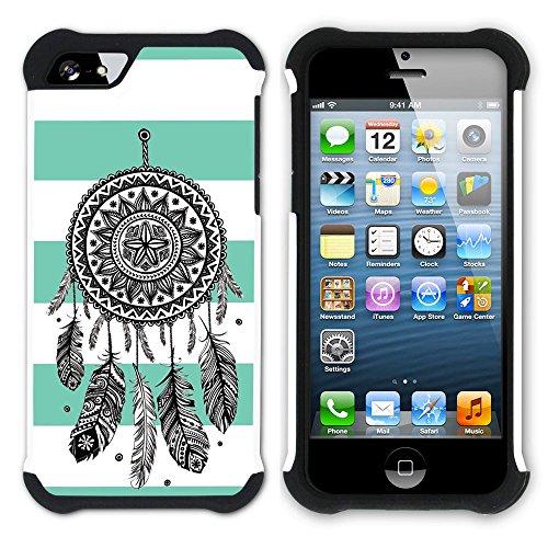 Graphic4You Traumfänger Linien Muster (Wasserblau) Hart + Weiche Kratzfeste Hülle Case Schale Tasche Schutzhülle für Apple iPhone SE / 5 / 5S Wasserblau