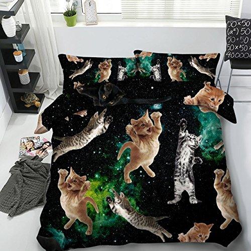 LifeisPerfect Cat Serie 5 Pcs Tröster Katzen Einzelnen Satz Volle Queen King Size Bett in Einem Beutel mit Federdecke Füller Super King Betten Setzt (King-size-bett In Einem Beutel)
