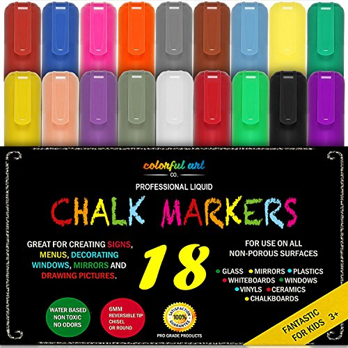 Colourful Art CHALK PENS & MARKERS - MEGA 18