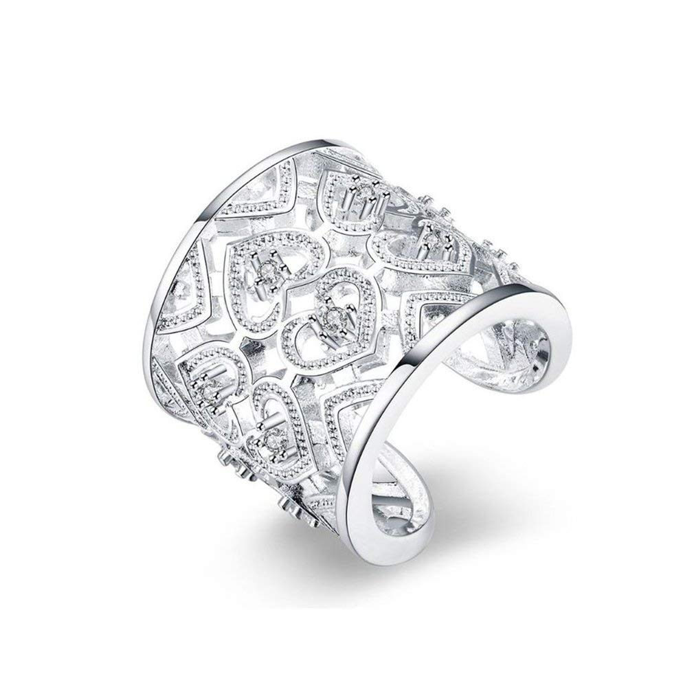 camellia-uk Stylish And Exquisite Inlaid Rhinestone Ring Multi-Heart Finger Ring