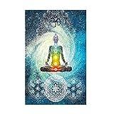 Tapisserie Mandala indien Psychédélique Gypsy Chakra Impression d'art tapisserie tenture Tapestry Hippie Bohemian Decor mural 150x 130cm 150 x 200 cm