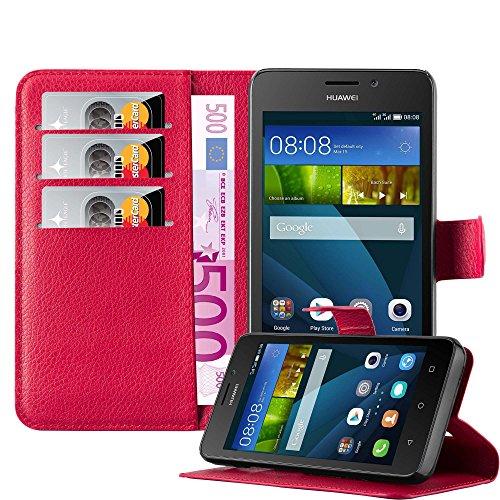 Preisvergleich Produktbild Cadorabo Hülle für Huawei Ascend Y635 - Hülle in Karmin ROT - Handyhülle mit Kartenfach und Standfunktion - Case Cover Schutzhülle Etui Tasche Book Klapp Style