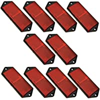 Red Large Rectangular Rear Reflector Pack of 10 Trailer Fence/Gate Post TR073