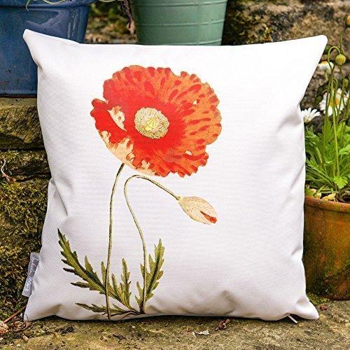 Gartenkissen Wasserdicht Cremefarben Vintage Mohnblumen Design - 50 x 50cm