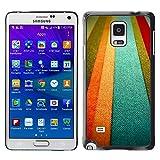 WonderWall Carta Da Parati Immagine Custodia Rigida Protezione Cover Case Per Samsung Galaxy Note 4 SM-N910F SM-N910K SM-N910C SM-N910W8 SM-N910U SM-N910 - tessile toni struttura di colore arancione pastello linee
