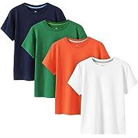 LAPASA Bambino 4 Pack T-Shirt in 100% Puro Cotone Unisex Girl & Boy da 4 a 14 Anni Girocollo Maniche Corte K01