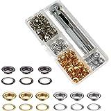 Ritte Oogjes gereedschapsset, metalen oogjes met schijven 150 set 5 mm oogjes schijven in 3 kleuren met gereedschapsset in op