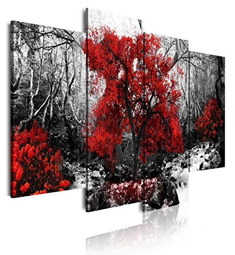 DEKOARTE 273 - Cuadro moderno en lienzo 4 piezas paisaje bosque con árbol rojo en fondo blanco y negro, 120x3x90cm