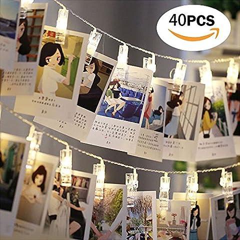 LED Foto Clips Lichterkette, Infreecs Wanddekoration Licht Stimmungsbeleuchtung Dekoration für Hängendes Foto Memos Kunstwerke, 40 Foto-Clips, 5 Meter, warmweiß, batteriebetrieben