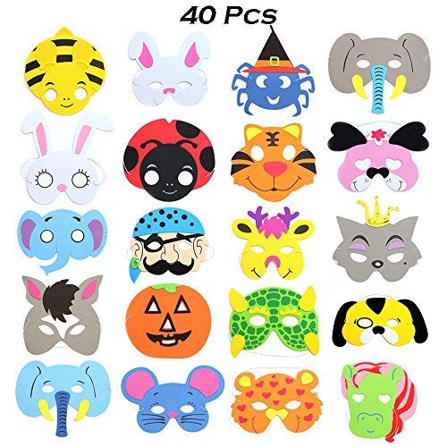 Tier Masken für Party, Packung mit 40 (Schaum Halloween-masken)