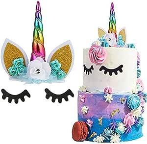 kreatives Geschenk für Babyparty Handgefertigte Super-Niedliche Einhorn-Tortenaufsatz Kuchendekoration Hochzeit und Geburtstag Größe S rose Megawa