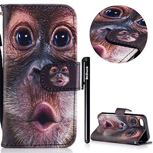 iPhone 5S Cover a Libro,BtDuck Morbido Slim Custodia Pelle Borsa e Portafoglio Tasca Progettato Creativo Divertente Funny Animale Modello Flip Cover Case Morbido Silicone Back Case Bumper con Magnetic 5/5S/SE-Orangutan