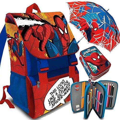 Kit Scuola 3 in 1 School Promo Pack Zaino Estensibile + Astuccio 3 Zip Accessoriato + Ombrello Salvaspazio SPIDER MAN Uomo Ragno Marvel Edizione 2017-2018