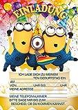 10 Einladungen zum Kindergeburtstag Minions (mit blauen Umschlägen)