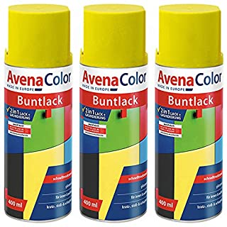 3 x Avena Color 2in1 Buntlack Spraydose Lackspray Gelb