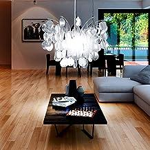 Design Hnge Decken Lampe Wohnzimmer Leuchte E27 Rund Bltter Chrom Eglo 91824