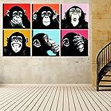 Raybre Art 6pcs Leinwand drucken - Ausdruck Affe Gorilla Gesicht - moderne Cartoon Bild Ölgemälde Cartoon Kunst für Kinder Wand Kunst Home Decor (ohne Rahmen)