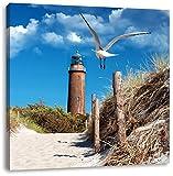 Schöner Leuchtturm am Strand, Format: 40x40 auf Leinwand, XXL riesige Bilder fertig gerahmt mit Keilrahmen, Kunstdruck auf Wandbild mit Rahmen, günstiger als Gemälde oder Ölbild, kein Poster oder Plakat