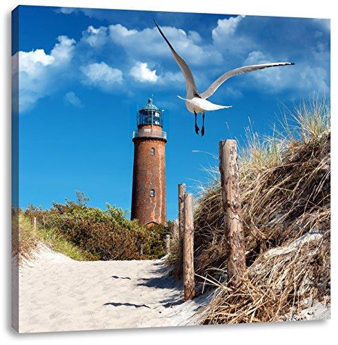 Schöner Leuchtturm am Strand, Format: 70x70 auf Leinwand, XXL riesige Bilder fertig gerahmt mit...