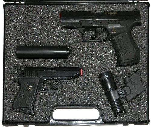 Preisvergleich Produktbild Wicke Walther P99 und PPK Amorcespistolen mit Schalldämpfer und Zielvorrichtung in schwarzem Koffer