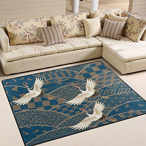cpyang Traditionelle japanische Muster und Crane Rechteck Bereich Teppiche Foto Custom rutschfest Moderne Teppiche für Wohnzimmer Große Boden Matte für Schlafzimmer Esszimmer (5'7,6cm X 4'), Textil, einfarbig, 6'8