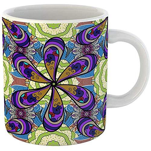 Kaffeetassen Teetasse Geschenk 325 ml lustige Keramik abstrakte Blumen Schwarz Beige Blau Retro Kollektion Seide Schal Blühen Geschenke für Familie Freunde Kollegen. -