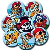 8 Mini Button * PIRATEN * mit Anstecknadel vom Lutz Mauder Verlag // 67231 // Kinder Geburtstag Mitgebsel Geschenk Party Buttons Set Piraten