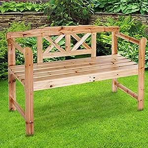 Miadomodo Panca panchina da giardino in legno di abete 2 posti ca. 119/75/40 cm