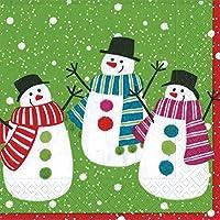 Caspari–Tovaglioli con pompon pupazzo di neve, 20, 20pezzi, colore: verde