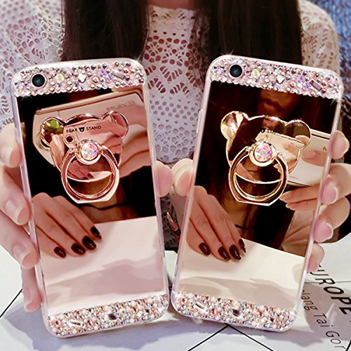 iPhone 5 Custodia, iPhone 5S Cover, iPhone SE Custodia Silicone, JAWSEU Moda Stile Lusso Cristallo di Bling Brillante Sparkle Glitter Custodia per iPhone 5/5S/SE Back Cover Case Ultra Sottile Flessibi Orso Oro