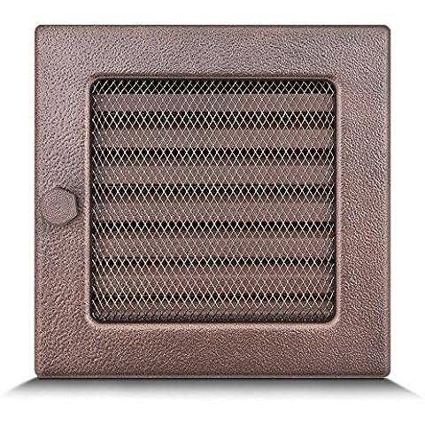 17x17cm Rejilla de lamas Aire rejilla ventilación Chimenea regulable - acero inoxidable - COBRE