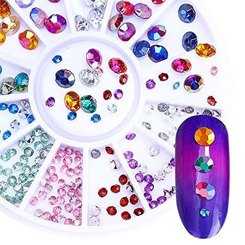 BONNIESTORE Nagel Sequins Chameleon runde Kristallrhinestone Nagelbolzen Bunte scharfe untere Manik¨¹re Paillette 3D Nagelkunst Dekoration im Rad 12 Farben