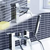 iBathUK Chrome Waterfall Basin Sink Mixer Tap + Bath Tub Filler Shower Head Bathroom Set TP3109