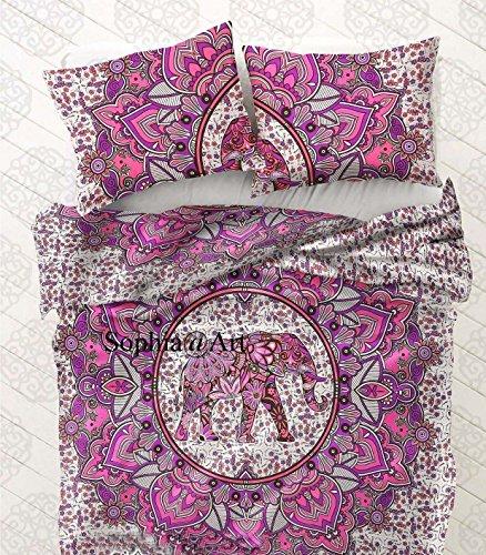 Sophia Art hecho a mano indio elefante Mandala edredón de algodón Queen Size Reversible doona cubierta manta Hippie de Edredón y funda de almohada