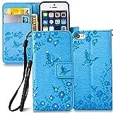 Slynmax Glitzer Schutzhülle für iPhone SE/5/5S Hülle Wallet Case Ledertasche Brieftasche Lederhülle Handyhülle Handytasche Fall Holster Klapphülle Ständer Karte Halter Magnetverschluss(Blau)