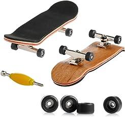 Kangnice Wooden Deck Fingerboard Skateboard Sport Games Kids Gift Maple Wood Black