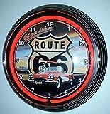 NEONUHR NEON CLOCK RED CORVETTE C1 ROUTE 66 WANDUHR BELEUCHTET MIT ROTEN NEON RING!