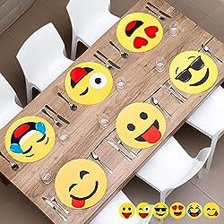 4manteles individuales de mesa emoticone, Emoji, Set de mesa original, Set de mesa Geek, rígida, plástico, PVC, salvamanteles de