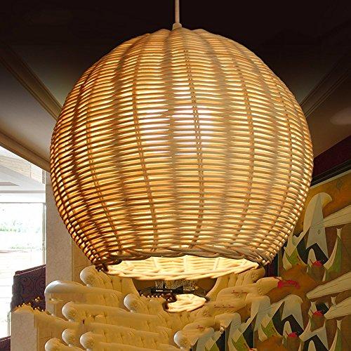 LighSCH Kronleuchter Pendellampe Vintage Schäbig Restaurant Licht Rattan  Weben Runde Leuchte Schlafzimmer Lampe Single Head Light