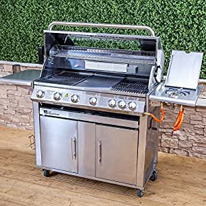 Fire Mountain Premier 6+1 Burner Gas Barbecue with Free Propane Regulator - Stainless Steel, Side Burner, Cast Iron Grill & Hot Plate, Rotisserie