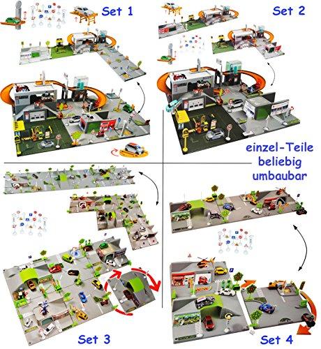 alles-meine.de GmbH Set: 3-D Spielmatte -  Straße UMBAUBAR  - 3 Teile mit Brücke - 1/64 - Tunnel - Tankstelle + 3 Fahrzeuge - Feuerwehrstation - Baustelle - Helikopterlandeplat.. - Baustelle Matchbox