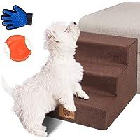 Masthome Hundetreppe mit Haustierhandschuh 3 Stufen Haustier Treppe für Hunde und Katzen bis zu 22,6 kg