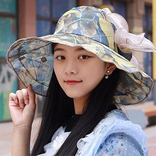 YXLMZ Meine Damen Frauen Hüte Retro Blumen Outdoor Visor Herrliche Lotusblättern Grenze Eine Mütze Gelb (Große Canvas-grenze)