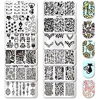 Born Pretty 10 piezas Nail Arte Estampación placas Set animales flores de leopardo platos de postre Manicura imagen Juego de herramientas para