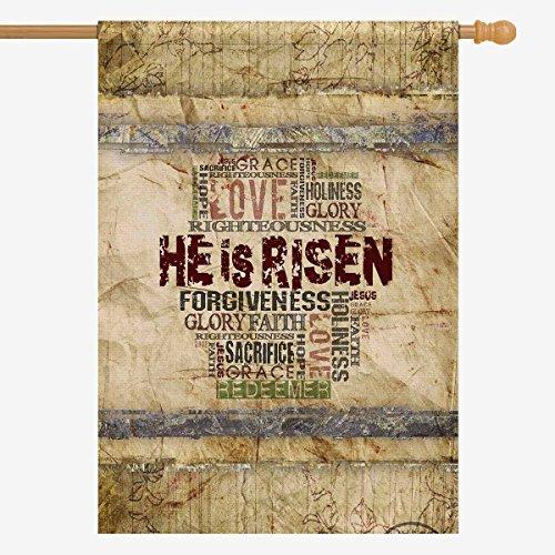 InterestPrint christlichen Bibel Schriftzug Ostern Hat er Risen Garden Flagge Deko für Haus und Garten Dekorationen, House Banner 30,5x 45,7cm (Ohne Fahnenstange) 28 x 40 Sort 3