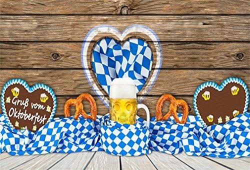 YongFoto 1,5x1m Vinyl Foto Hintergrund Oktoberfest Hintergrund mit Lebkuchenherz Maß Bier und Gruß Botschaft Fotografie Hintergrund für Fotoshooting Portraitfotos Party Fotostudio Requisiten